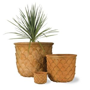 Pineapple (Tropical) Fibreglass Pot in Terracotta finish from potstore.co.uk